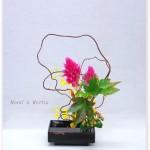 赤ヅルとケイトウの自由花